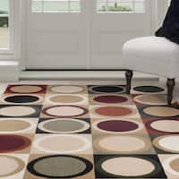 "Windsor Home Contemporary Circles Area Rug - Multi-Color 3'3"" x 5'"