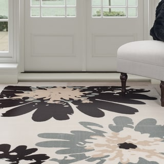 "Windsor Home Flower Area Rug - Blue & Ivory 3'3"" x 5'"