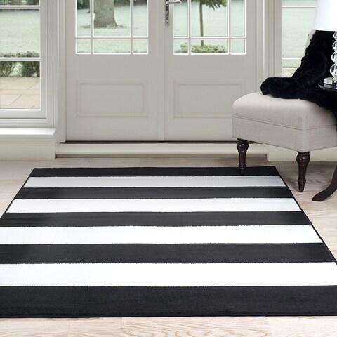 "Windsor Home Breton Stripe Area Rug - Black & White 5' x 7'7"""