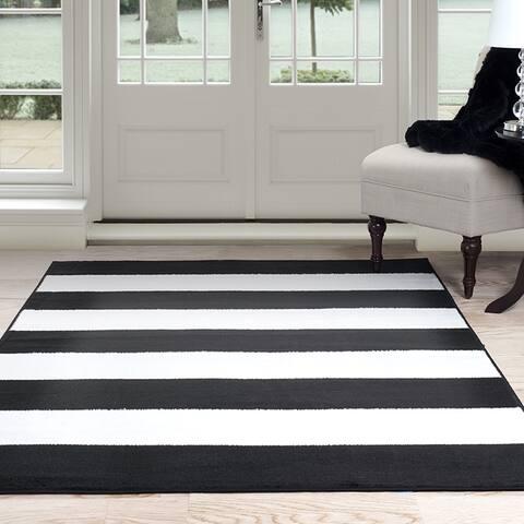"Windsor Home Breton Stripe Area Rug - Black & White 5' x 7'7"" - 5' x 7'7"""