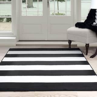 Windsor Home Breton Stripe Area Rug Black White 5