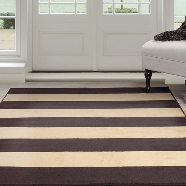 Windsor Home Autumn Stripes Area Rug - Brown & Tan - 5' x 7'7