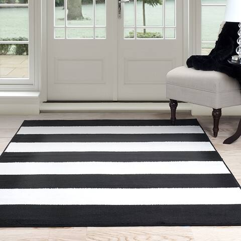 "Windsor Home Breton Stripe Area Rug - Black & White 3'3"" x 5' - 3'4"" x 5'"