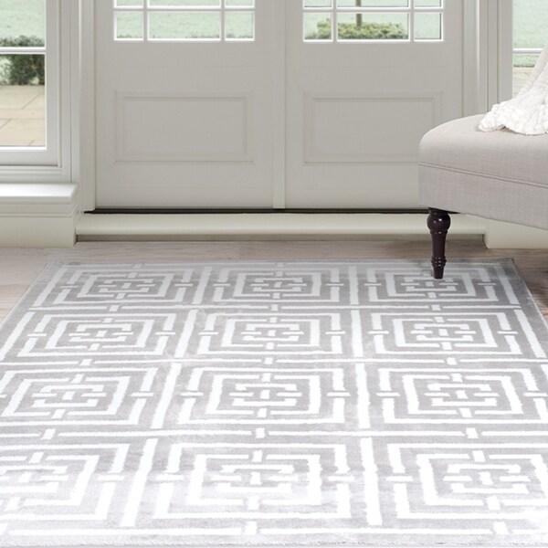 "Windsor Home Athens Area Rug - Grey & White 3'3"" x 5'"