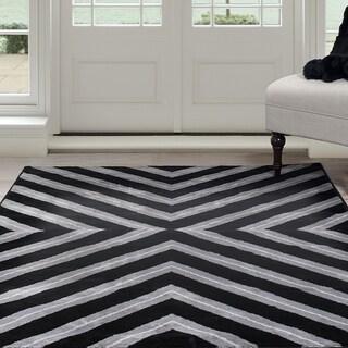"Windsor Home Kaleidoscope Area Rug - Black & Grey 5' x 7'7"""