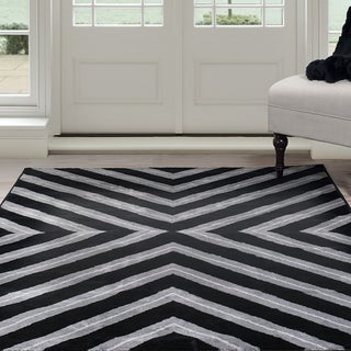 Windsor Home Kaleidoscope Area Rug - Black & Grey 4' x 6'