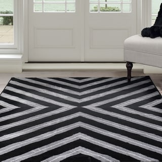 "Windsor Home Kaleidoscope Area Rug - Black & Grey 3'3"" x 5'"