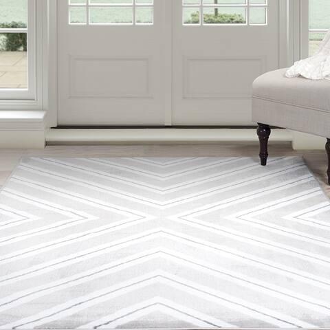 "Windsor Home Kaleidoscope Area Rug - Grey & White 5' x 7'7"" - 5' x 7'7"""