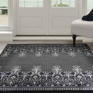 "Windsor Home Royal Garden Area Rug - Black & Grey 5' x 7'7"""