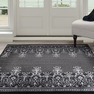 "Windsor Home Royal Garden Area Rug - Black & Grey 3'3"" x 5'"