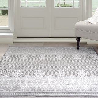 "Windsor Home Royal Garden Area Rug - Grey & White 3'3"" x 5'"