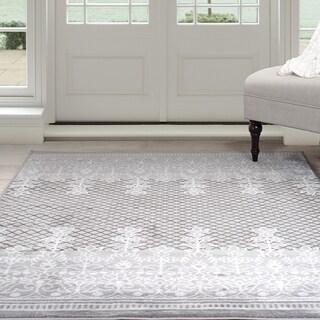 """Windsor Home Royal Garden Area Rug - Grey & White 3'3"""" x 5'"""