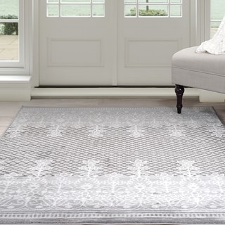 Windsor Home Royal Garden Area Rug - Grey & White 4' x 6'