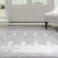 """Windsor Home Royal Garden Area Rug - Grey & White 5' x 7'7"""""""