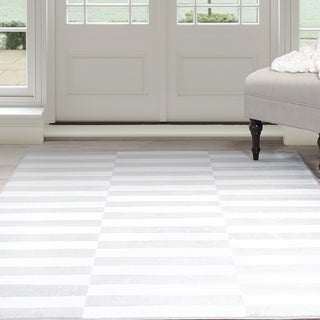 Windsor Home Alternate Stripes Area Rug - Grey & White 4' x 6'