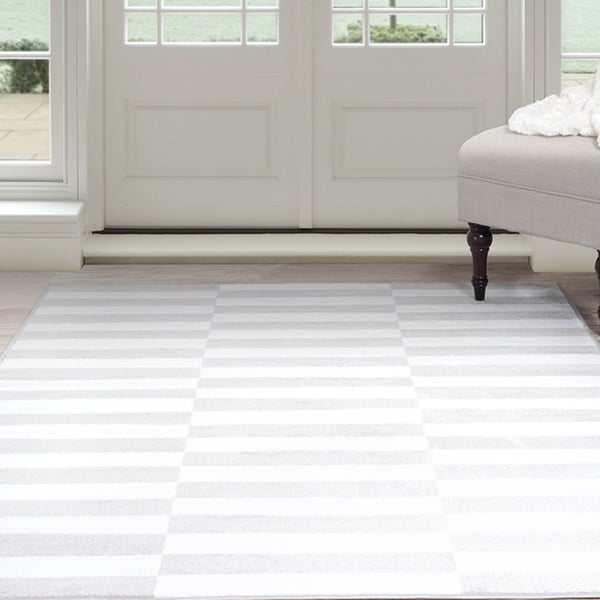 Shop Windsor Home Alternate Stripes Area Rug Grey White 4 X 6