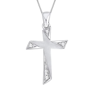 10k White Gold Diamond Accent Cross Pendant