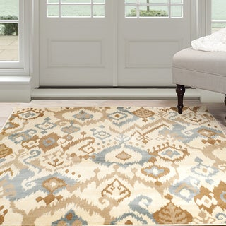 Windsor Home Ikat Area Rug - Cream & Blue 4' x 6'