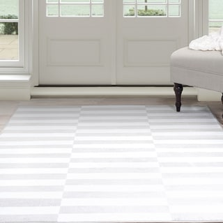 "Windsor Home Alternate Stripes Area Rug - Grey & White 3'3"" x 5'"