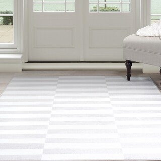 Windsor Home Alternate Stripes Area Rug - Grey & White 5' x 7'7""