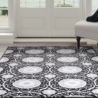 "Windsor Home Royal Damask Area Rug - Black 3'3"" x 5'"