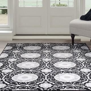 """Windsor Home Royal Damask Area Rug - Black 5' x 7'7"""""""
