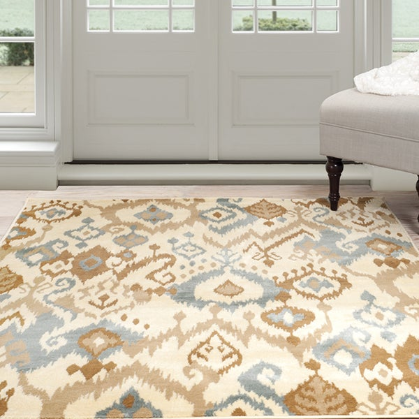 Windsor Home Ikat Area Rug - Cream & Blue 5' x 7'7""