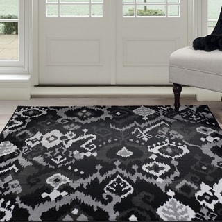 Windsor Home Ikat Area Rug Black Grey 5 X7 7