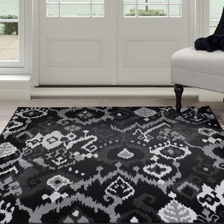 "Windsor Home Ikat Area Rug - Black & Grey 3'3""x5'"