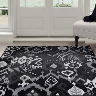Windsor Home Ikat Area Rug - Black & Grey 4'x6' - 4' x 6'
