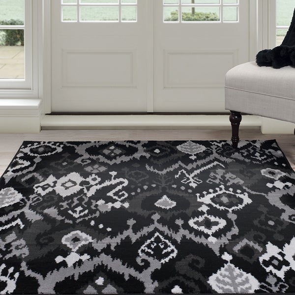 Windsor Home Ikat Area Rug - Black & Grey 4'x6'