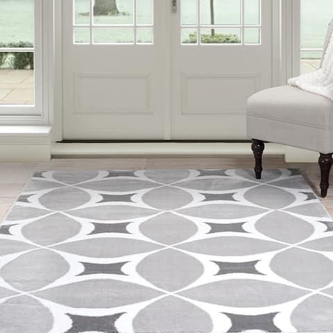 Windsor Home Geometric Area Rug - Grey and White (8' x 10') - 8' x 10'