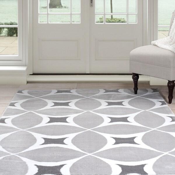 Windsor Home Geometric Area Rug - Grey and White (8' x 10')