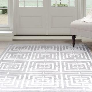 Windsor Home Athens Area Rug - Grey & White 8' x 10' (Option: 8' X 10')