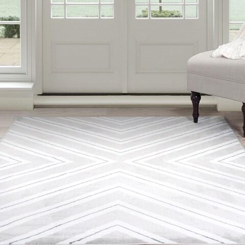 Windsor Home Kaleidoscope Area Rug - Grey & White 8' x 10'