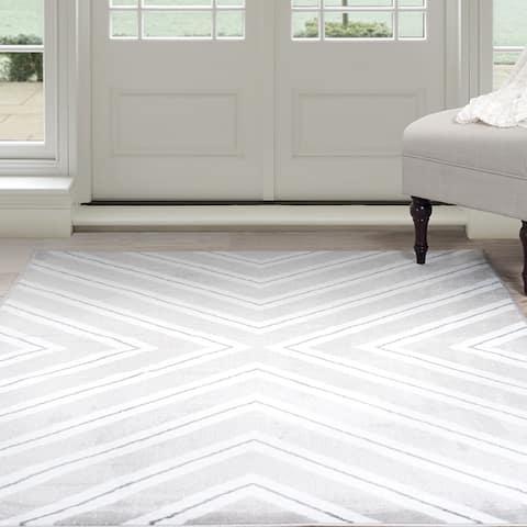 Windsor Home Kaleidoscope Area Rug - Grey & White 8' x 10' - 8' x 10'