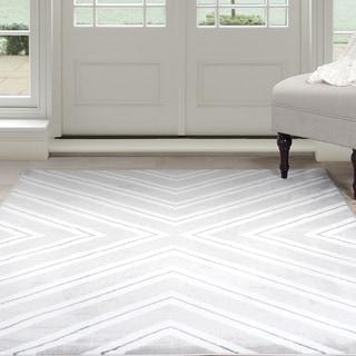 Windsor Home Kaleidoscope Area Rug - Grey & White 8' x 10' (Option: 8' X 10')