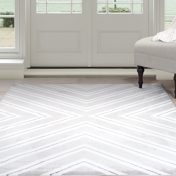 Windsor Home Kaleidoscope Area Rug Grey White 8 X 10