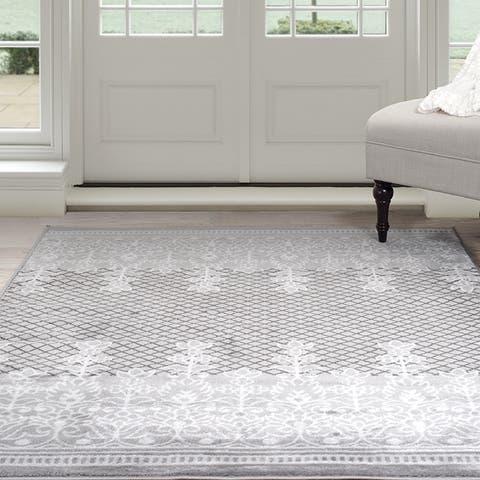 Windsor Home Royal Garden Area Rug - Grey & White - 8' x 10'