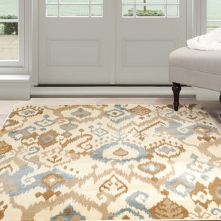 Windsor Home Ikat Area Rug - Cream & Blue 8' x 10'