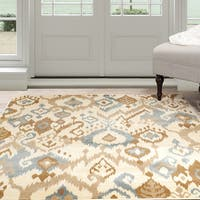 Windsor Home Ikat Area Rug - Cream & Blue 8' x 10' - 8' x 10'
