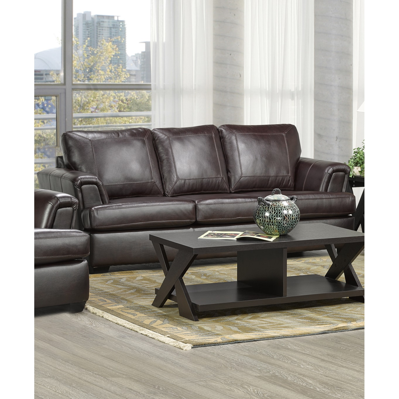 Coja Duke Italian Leather Sofa (Cranberry), Brown