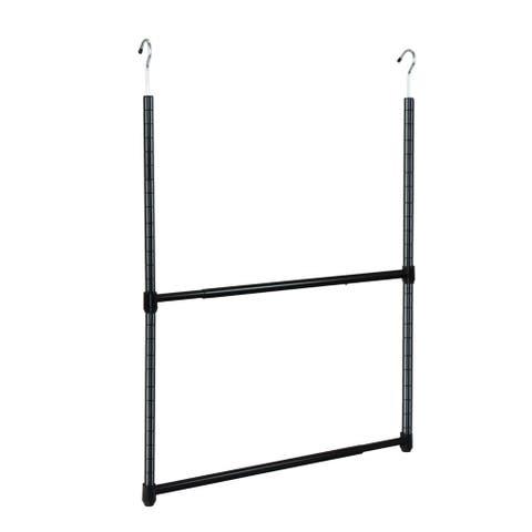 Oceanstar 2-Tier Portable Adjustable Closet Hanger Rod, Black