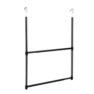 Oceanstar 2-Tier Portable Adjustable Closet Hanger Rod, Black