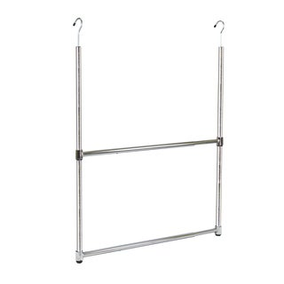 Oceanstar Chrome 2-Tier Portable Adjustable Closet Hanger Rod