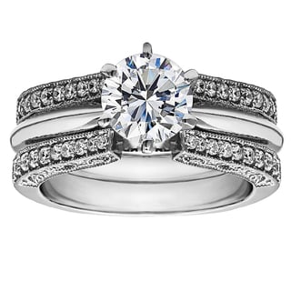 Sterling Silver 1ct Round Cubic Zirconia Solitaire Wedding Ring and Guard Set
