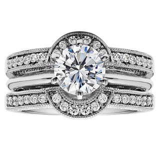 Sterling Silver 1ct Cubic Zirconia Solitaire Wedding Ring and Rounded Guard Set