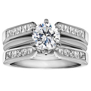 TwoBirch Sterling Silver 1ct Round Cubic Zirconia Wedding Ring and Guard Set