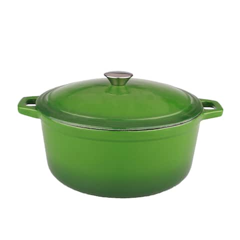 Neo 5-quart Green Cast Iron Oval Covered Casserole Dish