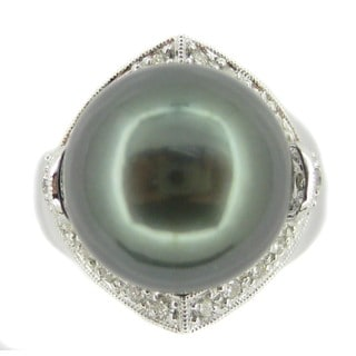 Kabella Luxe Collection 14k White Gold Black Tahitian Pearl and 1/2ct TDW Diamond Ring (G-H-SI2) (13-14mm)